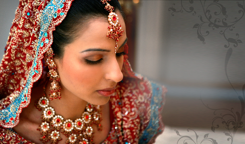 Elegant Indian Muslim Bride Wearing Traditional Expensive Silk Wedding Dress