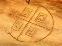 a drawing in the sand, symbols representing each nation's element, in a grid, with a yet-unfinished circle surrounding, and unifying, all of them