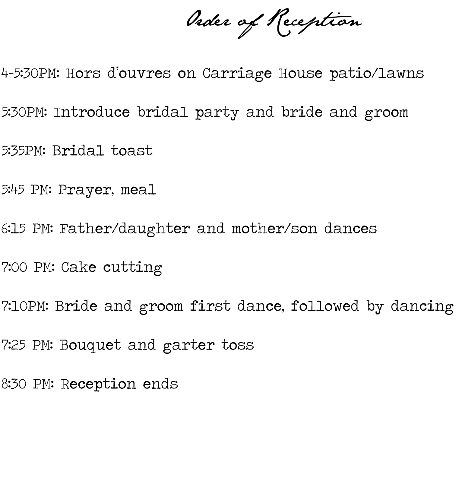 Order Of Wedding And Reception