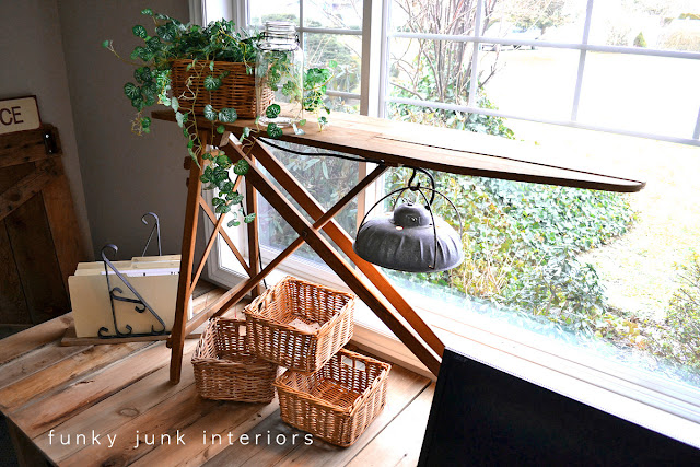 Vintage ironing board and barn light for office desk task lighting
