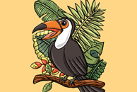 The Happy Toucan Bird Illustration by Haidi Shabrina