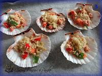 Capesante gratinate con pomodorini e parmigiano