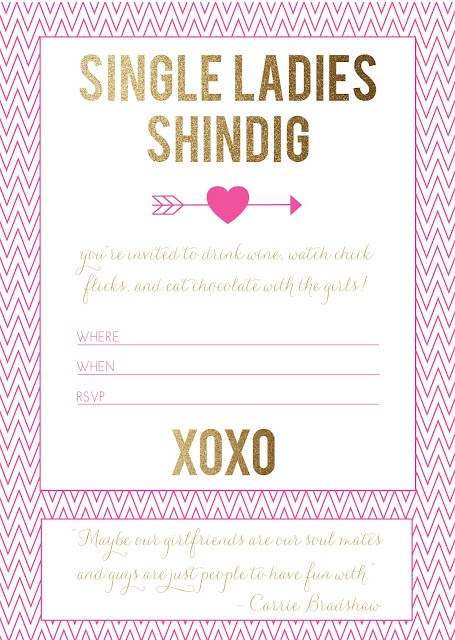 free printable single ladies valentine's day party invitation (via Holly Would)