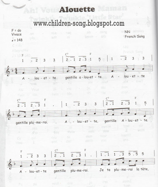Alouette Children Song with Notes