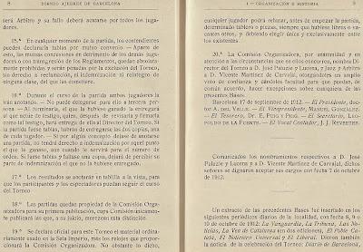 Páginas 8 y 9 del libro del Torneo de Ajedrez para el Campeonato de Barcelona de 1913