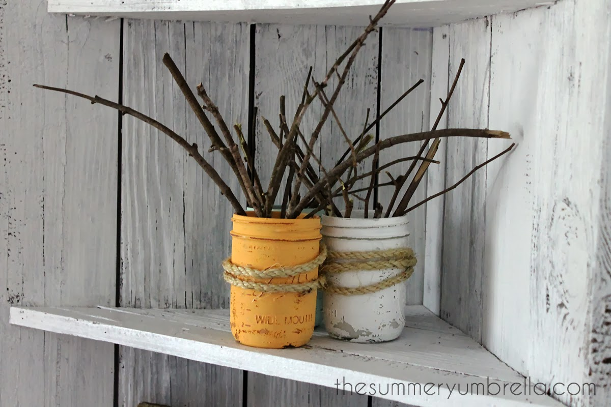 painted mason jar branch vases