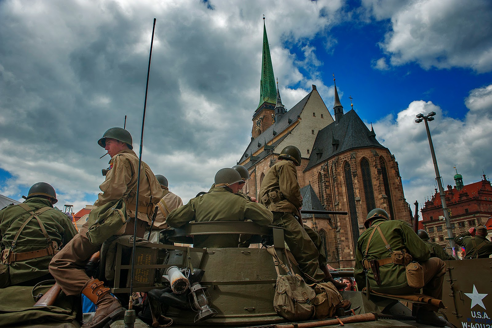 WWII, Plzen, World War II, U.S. WWII soldiers, 16 Armored Division, Liberation of Plzen, Czech Republic, Czechoslovakia