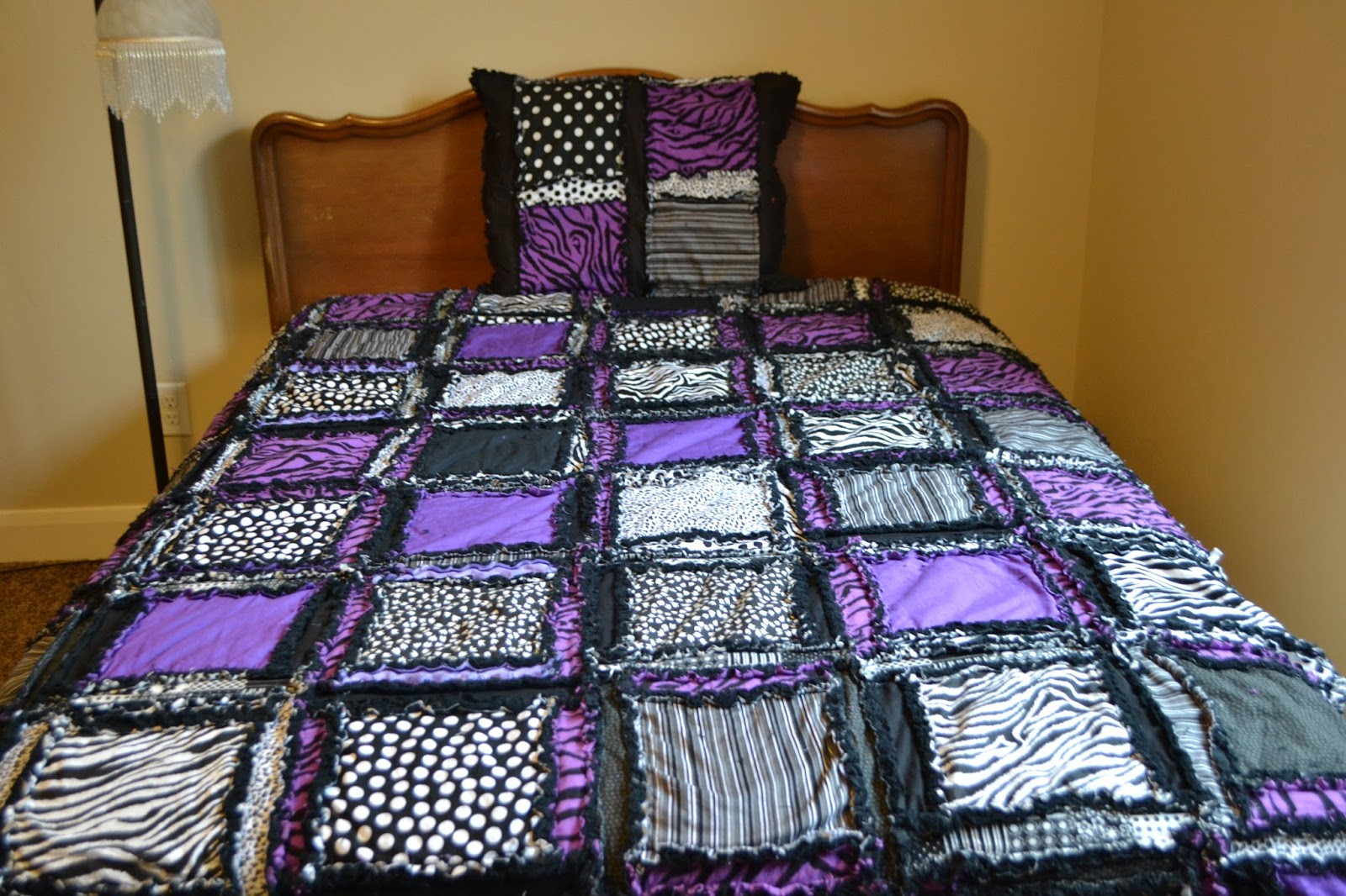 Rag Quilt Patterns For Twin Bed : Zebra Girl Bedding Rag Quilt for Twin, Full/Double, Queen, and King Size A Vision to Remember ...