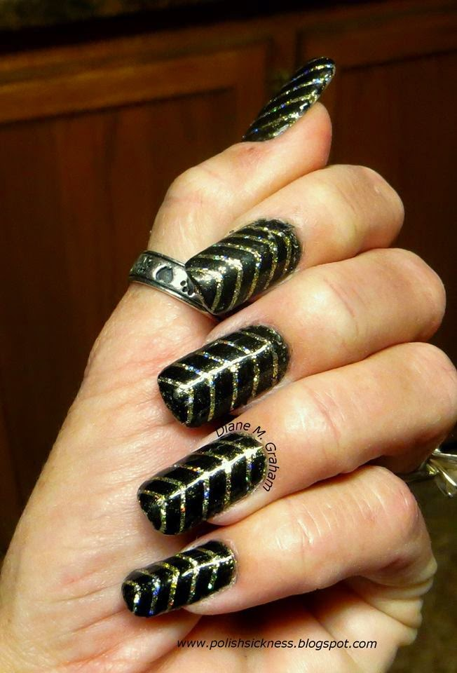 China Glaze Medallion, striping tape mani