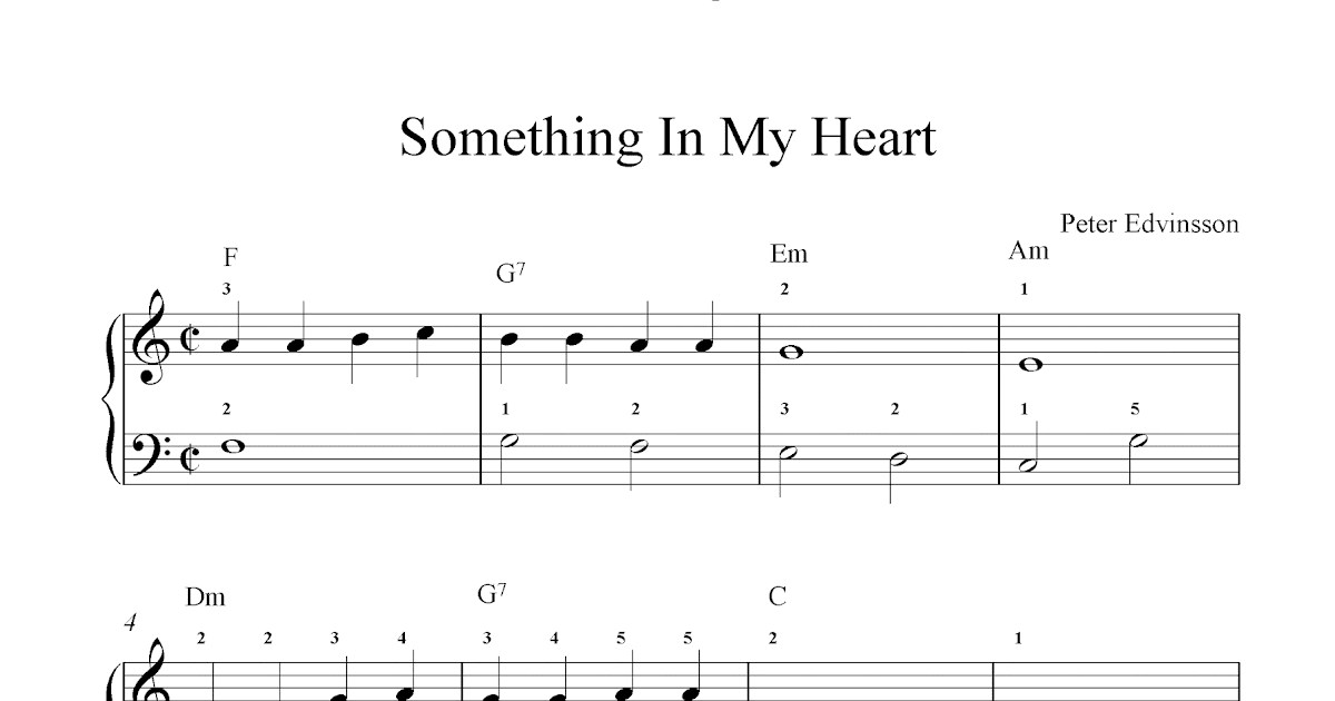 Free basic piano sheet music, Something In My Heart