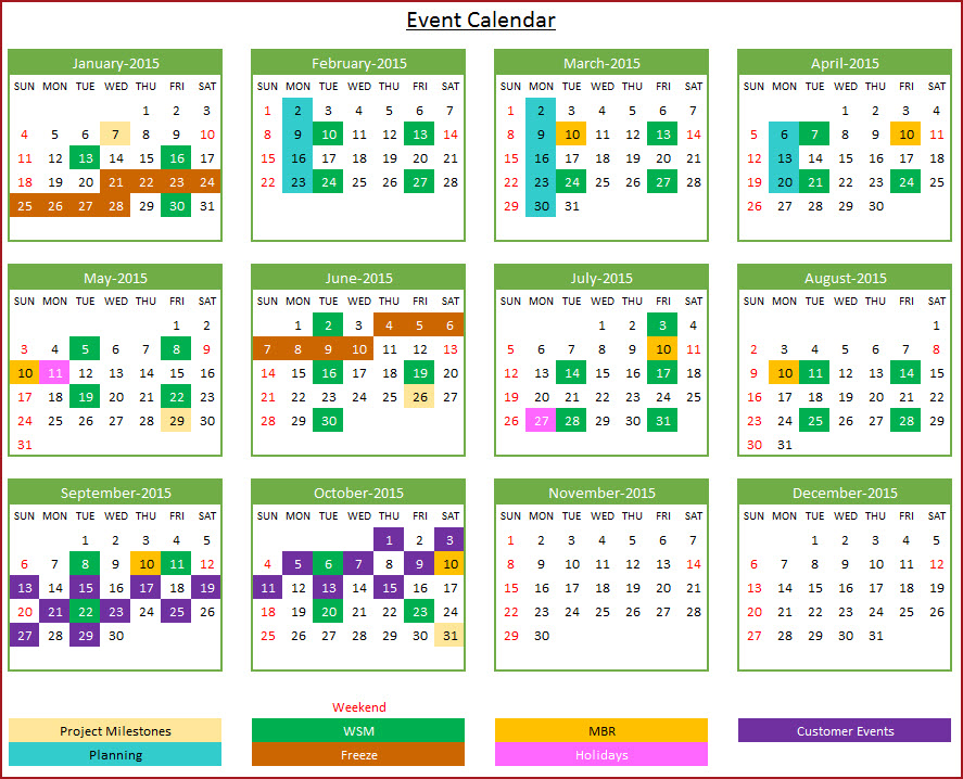 Yearly Event Calendar Template Zrom