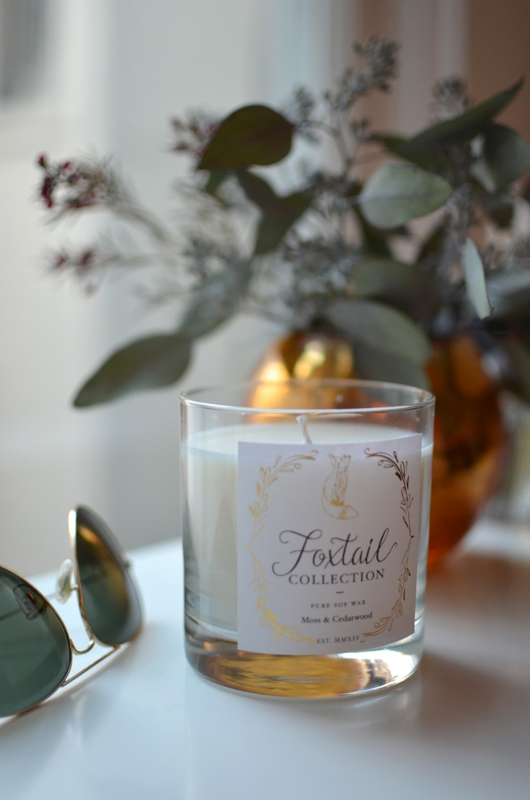 candle, candle for fall, autumn candle, Foxtail collection, Foxtail candles, Moss and Cedarwood, home design, home decor,