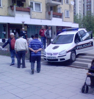 Funniest pictures of police: Bosnian police car parked on the stairs