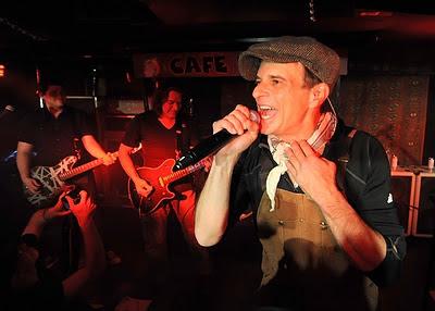 Wolfgang Van Halen, Eddie Van Halen and David Lee Roth of Van Halen perform at Cafe Wha? in New York