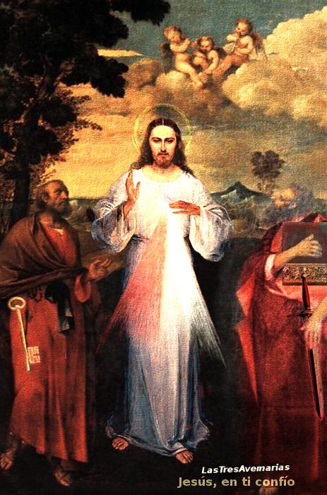 jesus divina misericordia y apostoles san pedro y san pablo