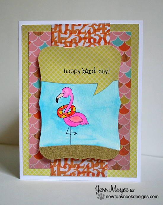 Happy Happy Bird-Day Flamingo Card by Jess Moyer | Flirty Flamingos Stamp set | Newton's Nook Designs