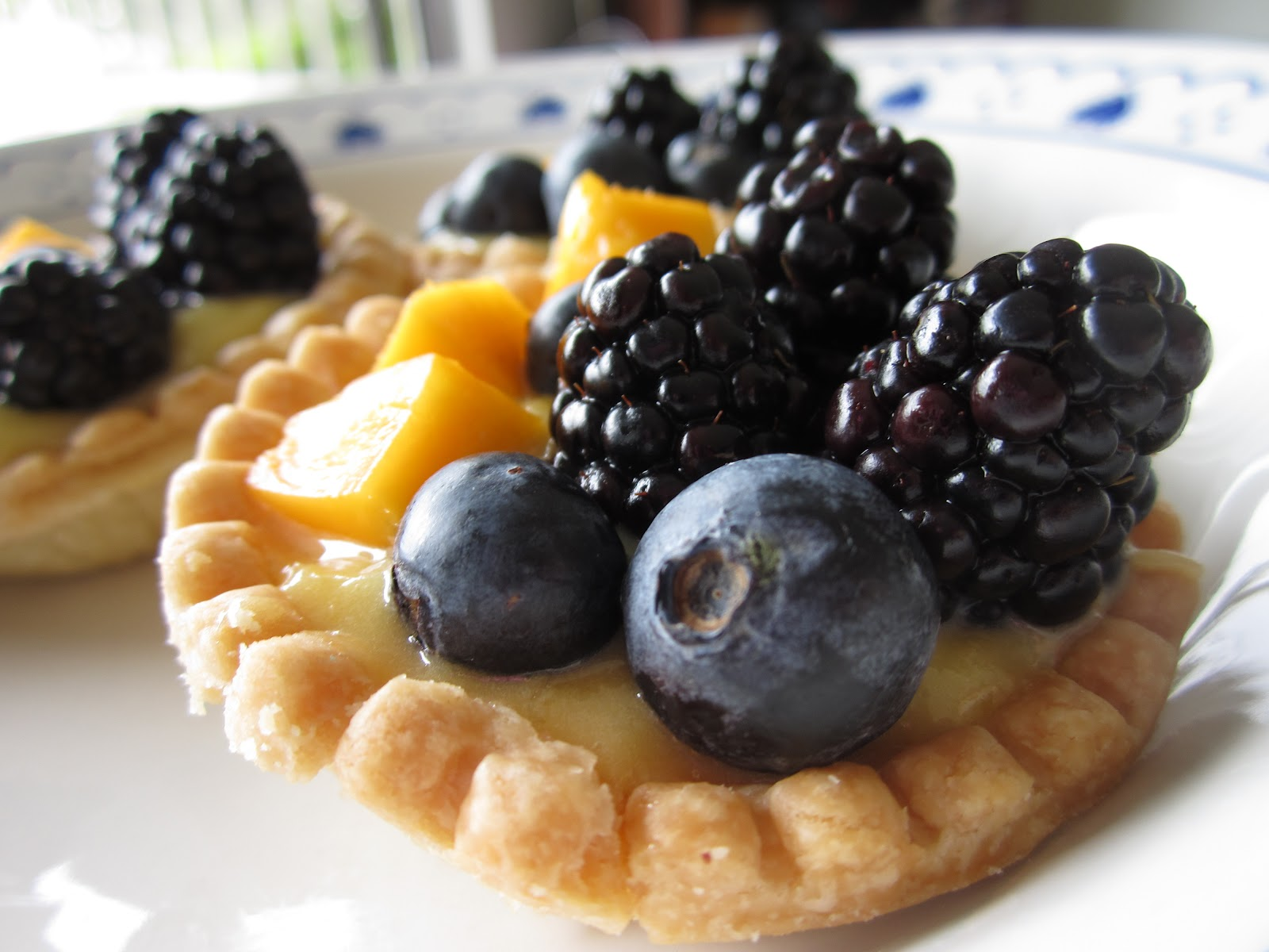 Lemon Cream Custard Tartlettes w/ Blackberries, Blueberries & Mango ...