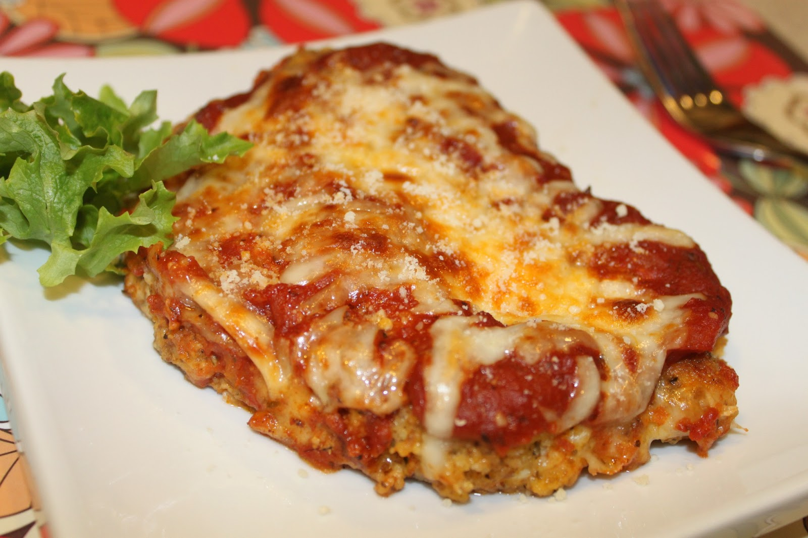 Wheat-free, low carbohydrate Chicken Parmesan. Almond crusted chicken ...