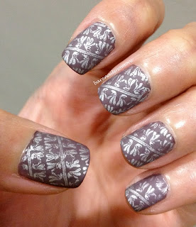 Revlon Mischievous stamped with Sally Hansen Silver Sweep BM321 and mattified