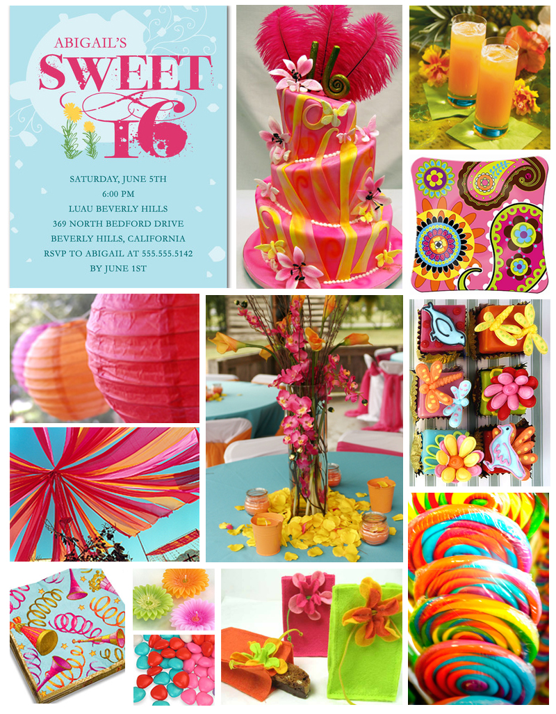 Sweet sixteen party inspiration board from tiny prints