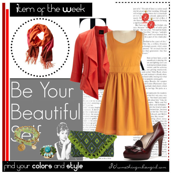 lovely colorful outfit for Warm Autumn with orange colorblock scarf