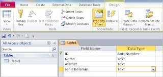 Design Tabel database access