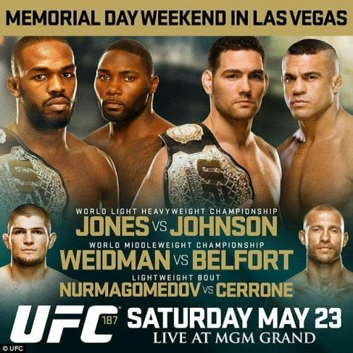 Ingressos UFC 187 Las Vegas - Chris Weidman x Vitor Belfort e Jones x Johnson
