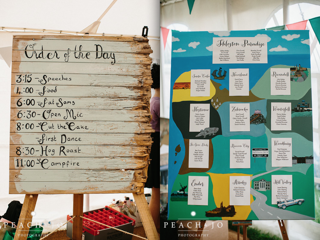 fictional places wedding table plan