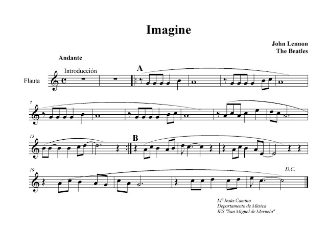 Partitura  Imagine por Jhon Lennon