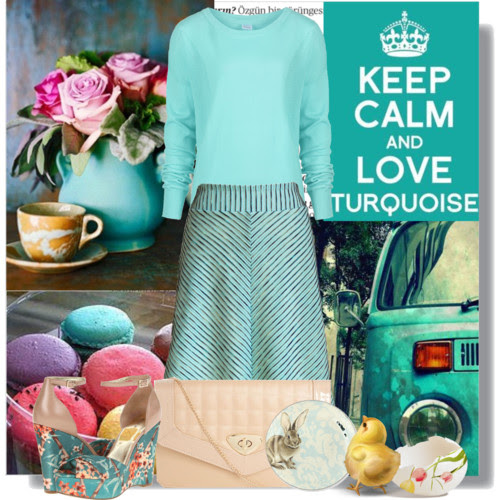 Turquoise look for Easter. Visit www.forarealwoman.com