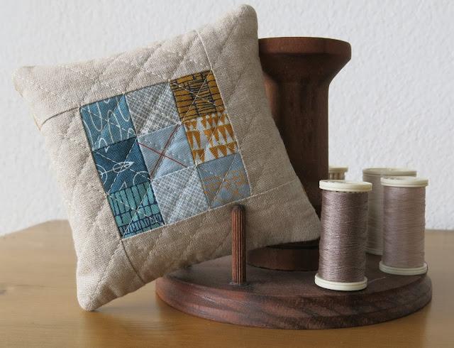 Quilted nine patch pincushion - Carolyn Friedlander fabrics