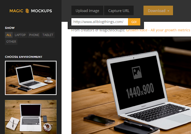 Click on Capture URL button (from header menus) paste/type your blog's URL