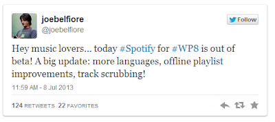Spotify update for Windows Phone 8, lets users fast forward the tracks
