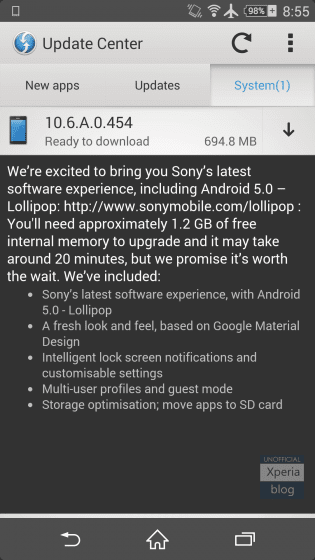 Sony Android 5.0.2 Lollipop update for older Xperia Z series