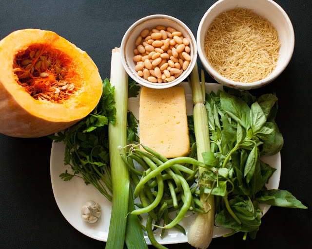 ингредиенты на овощной суп с писту