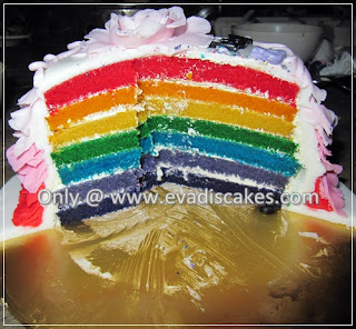 Picture of Penang Cakes - Evadis Cupcakes - Rainbow Cake After Cut