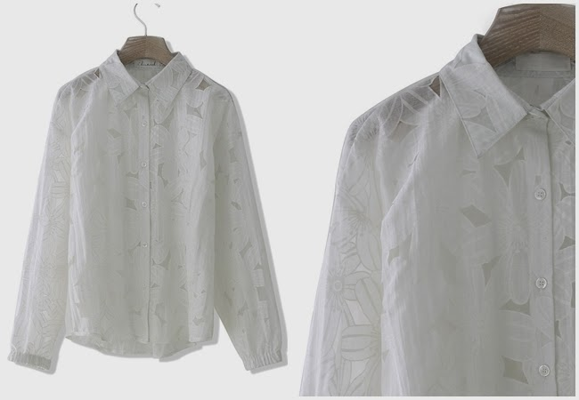 Chicwish White Shirt With Floral Hollow Out