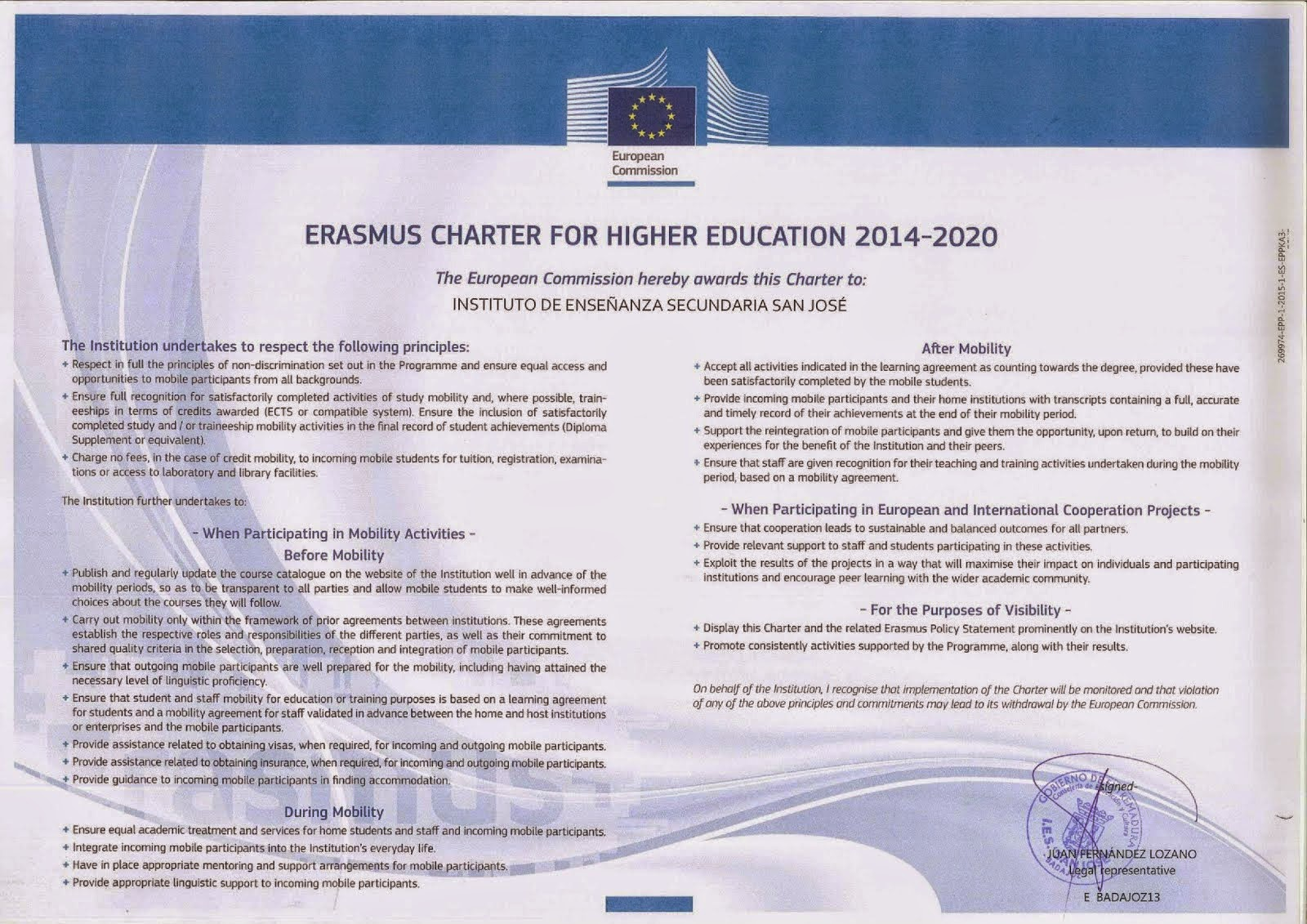 Erasmus Charter for higher Educaction 2014-20