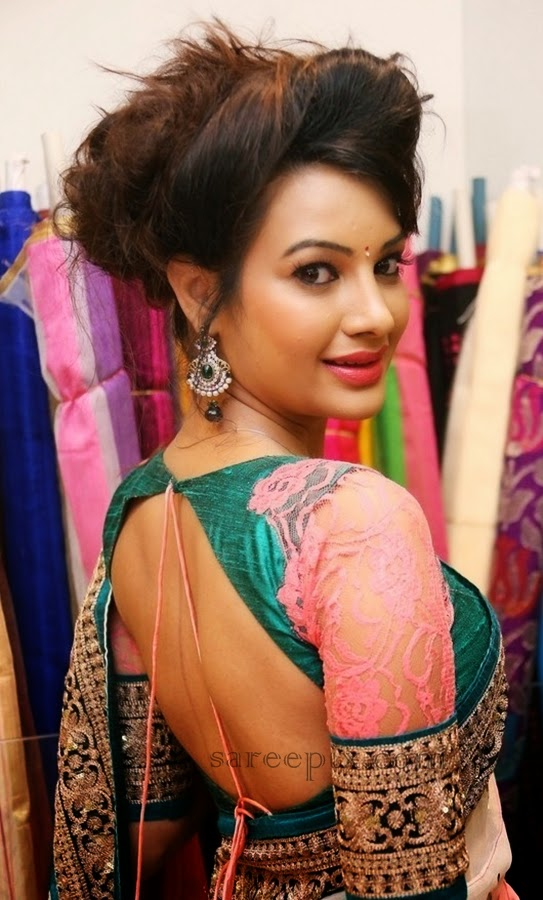 Deeksha panth in backless blouse