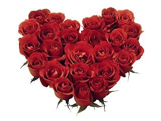 Ramo de rosas con forma de corazón