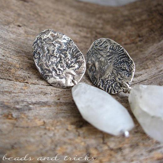 Orecchini in argento 800, argento 925 e pietra di luna