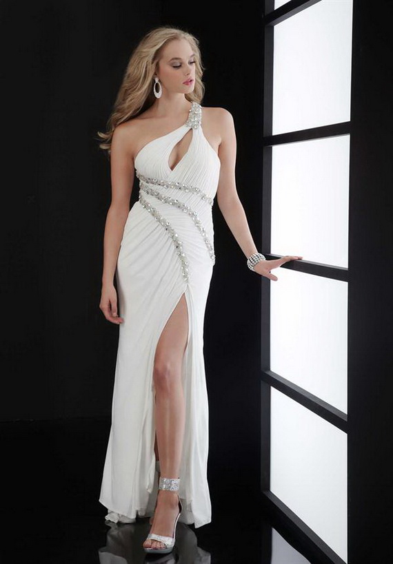 one shoulder white long split prom dress with beaded accents
