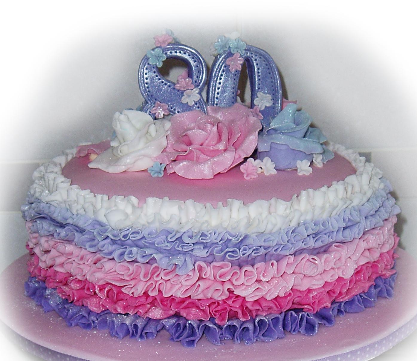 Ombre Ruffle Rose 80th Birthday Cake