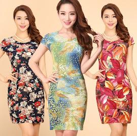New 2016 Spring Plus Size Ice Silk Midi Dress