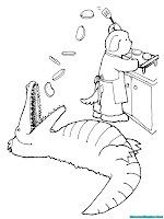 Mewarnai Gambar Alligator Makan Kue Yang Dibuat Oleh Chef