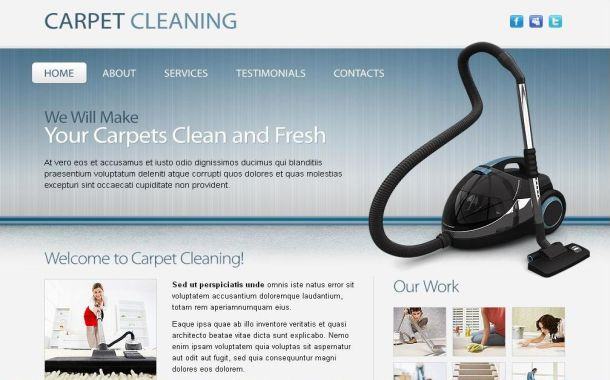 Free Blue Cleaning Company CSS Website Template