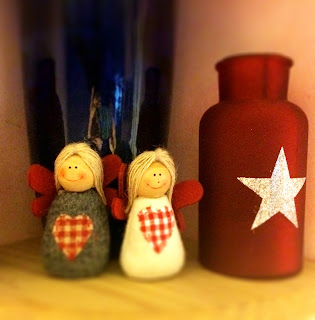 Felt and wood angels and red lantern