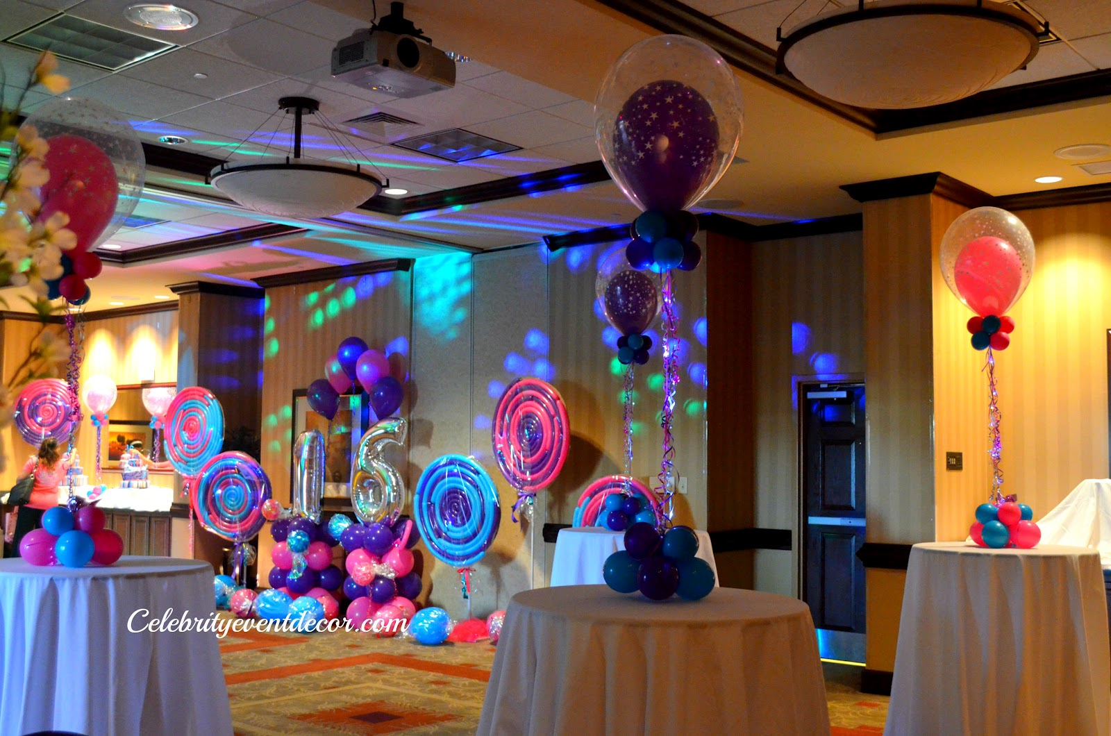 Celebrity event decor banquet hall llc august 2012 for Balloon decoration ideas for sweet 16