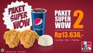 harga menu delivery kfc paket super wow 2