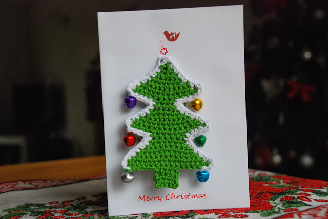 image of crochet Xmas tree on home-made card